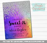Sweet 16 Ombre Watercolor Invitation 6 - FREE  thank you card