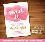 Sweet 16 Watercolor Invitation - FREE thank you card