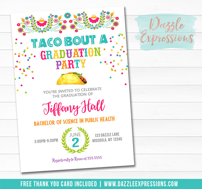 Fiesta Graduation Invitation 1 - FREE thank you card included