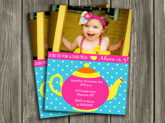 Tea Party Invitation 3 - Thank you card Included