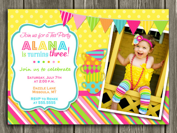 Tea Party Invitation 2 - Thank you card Included