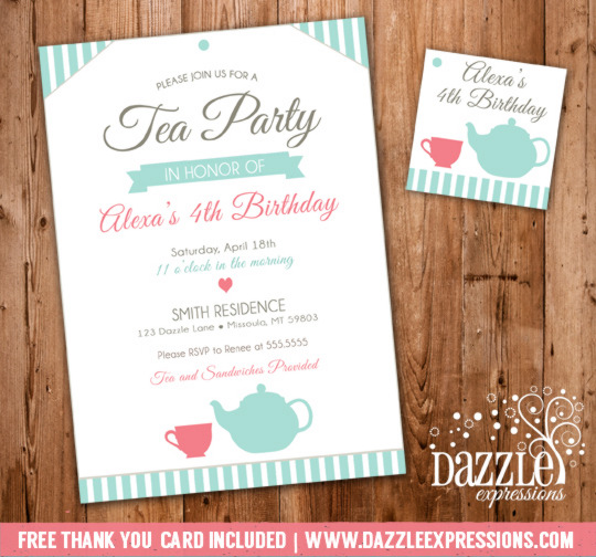 Tea Party Invitation 4 - FREE thank you card included