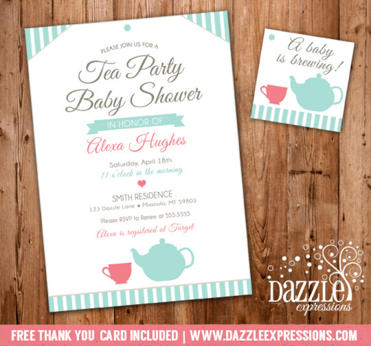 Tea Party Baby Shower Invitation 1 - FREE thank you card included