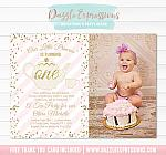 Tea Party - Pink and Gold Invitation 2 - FREE thank you card