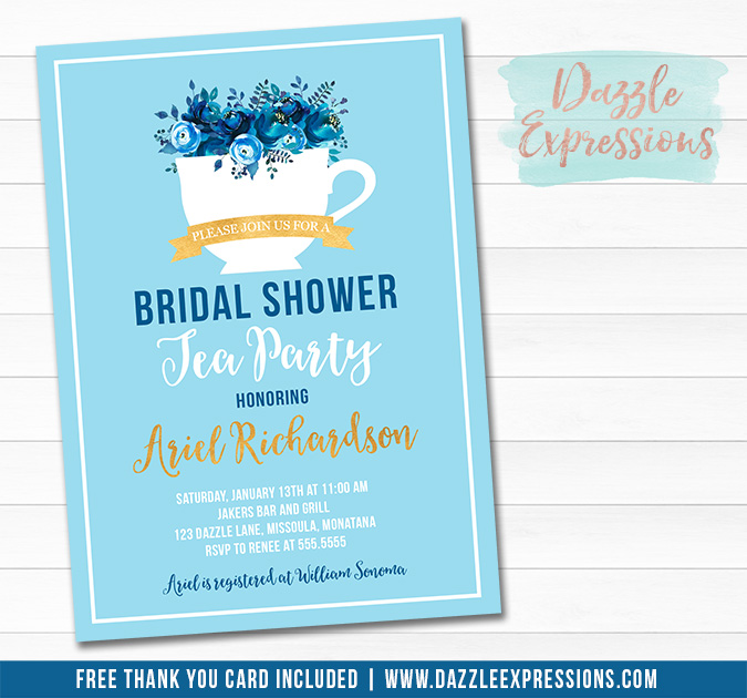 Tea Party Bridal Shower Invitation 1 - FREE thank you card