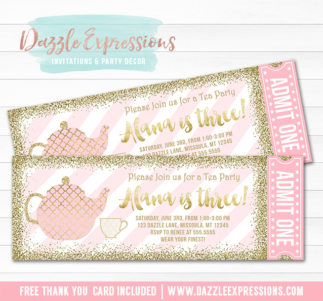 Well-liked Printable Pink and Gold Tea Party Ticket Birthday Invitation  GO99
