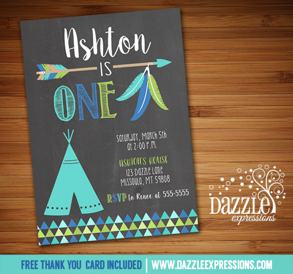 Teepee and Arrow Chalkboard Birthday Invitation - FREE thank you card included