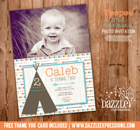 Modern Teepee and Arrows Birthday Photo Invitation - FREE thank you card included