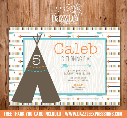 modern teepee and arrows birthday invitation free thank you card included