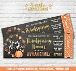 Thanksgiving Dinner Chalkboard Ticket Invitation 1