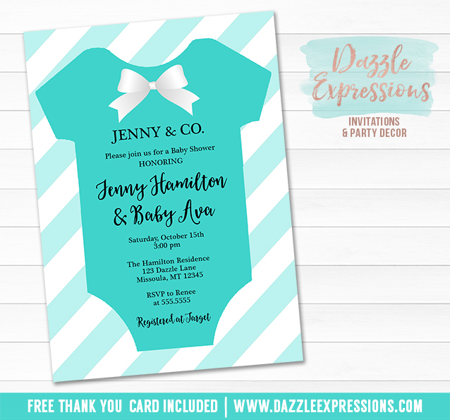 Printable Tiffany And Co Baby Shower Onesie Invitation