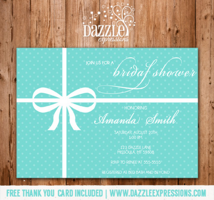 Tiffany Blue Bridal Shower Invitation - FREE thank you card included