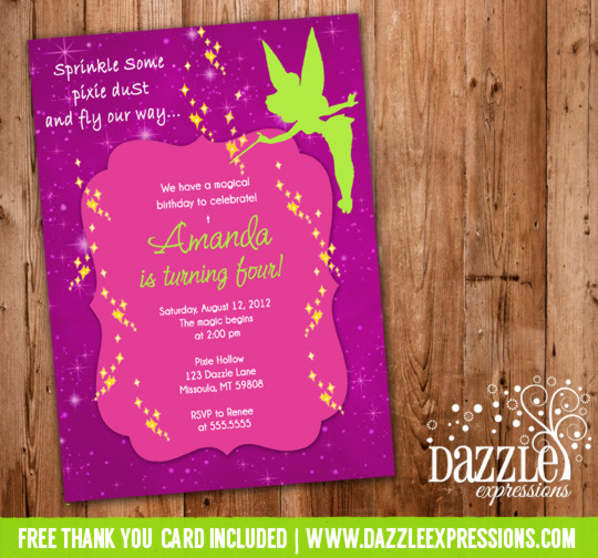 Fairy Tinkerbell Inspired Birthday Invitation 1 - FREE thank you card included