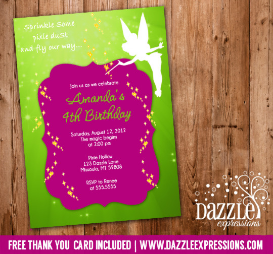 Fairy Tinkerbell Inspired Birthday Invitation 2 - FREE thank you card included