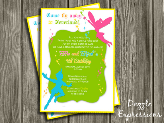 fairy and boy double party birthday invitation