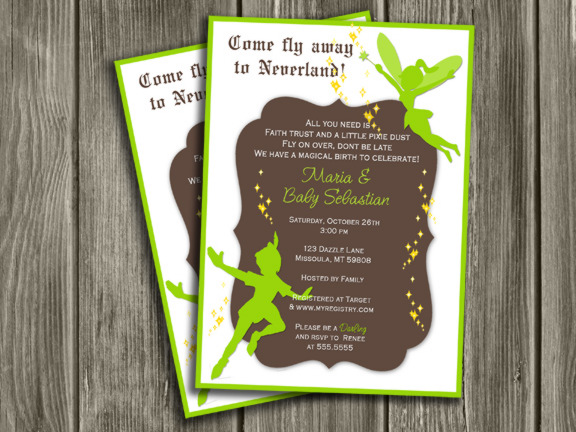 Neverland peter pan and tinkerbell inspired baby shower invitation neverland baby shower invitation free thank you card included filmwisefo Gallery