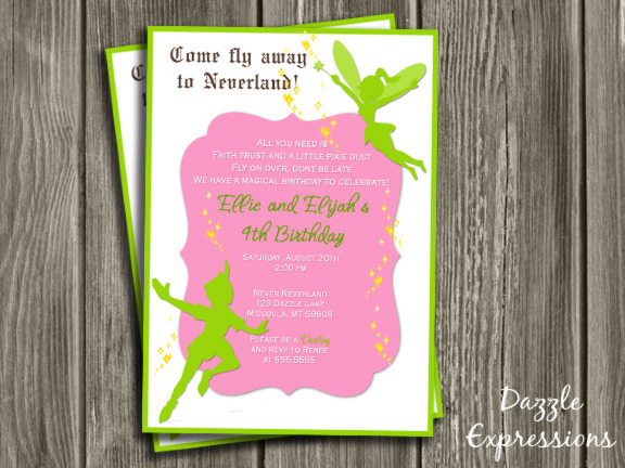Fairy and Boy Birthday Invitation 3 - Thank You Card Included