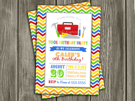 Tool Birthday Invitation - Thank You Card Included