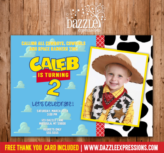 Toy Story Inspired Birthday Invitation - Thank You Card Included