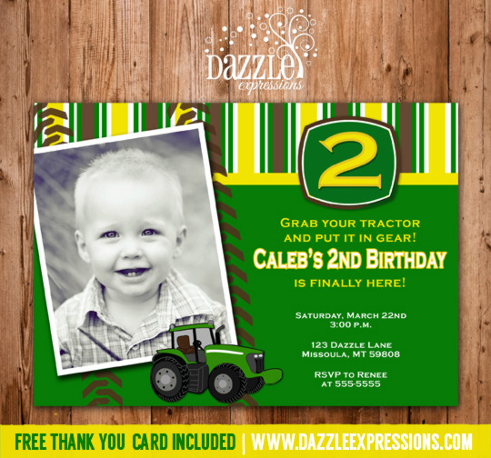 Tractor Birthday Invitation 1 - Thank You Card Included