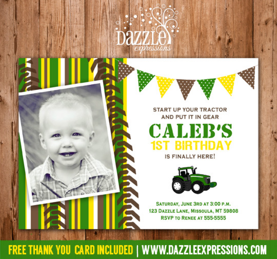 Tractor Birthday Invitation 2 - Thank You Card Included