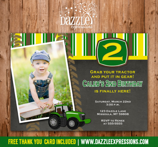 Tractor Chalkboard Birthday Invitation - FREE thank you card included