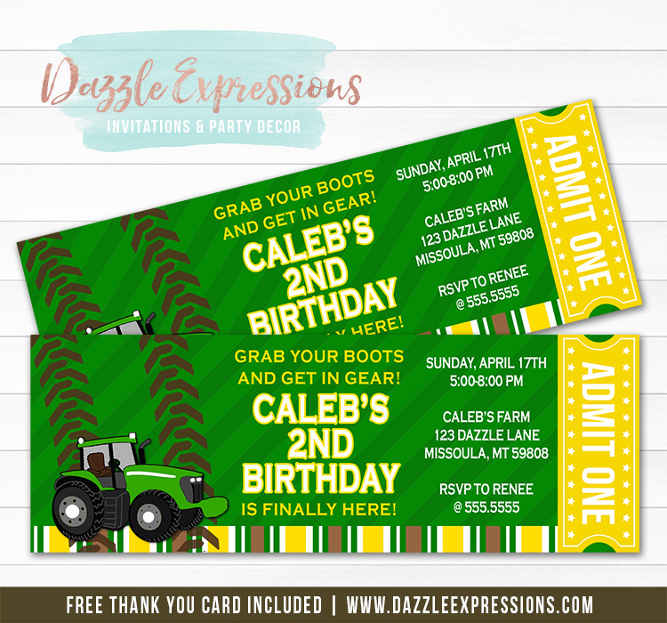Tractor Ticket Invitation 1 - FREE thank you card included