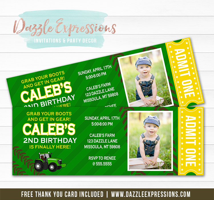 Tractor Ticket Invitation 2 - FREE thank you card included
