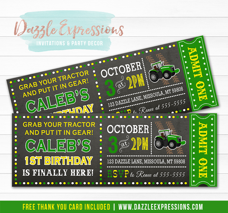 Tractor Chalkboard Ticket Invitation 1 - FREE thank you card included