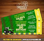 Tractor Ticket Birthday Invitation - FREE thank you card included