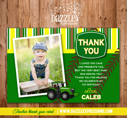 Tractor Photo Thank You Card - Printable