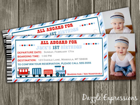 Train Ticket Invitation 4 - Thank You Card Included