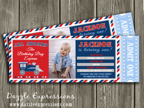 printable train ticket birthday invitation - boys choo choo train,
