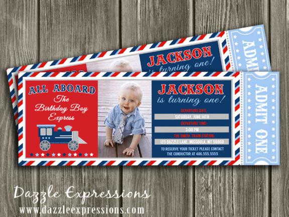 Printable Train Ticket Birthday Invitation Boys Choo Choo Train Party