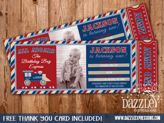 Printable Vintage Train Ticket Birthday Invitation Boys Choo Choo