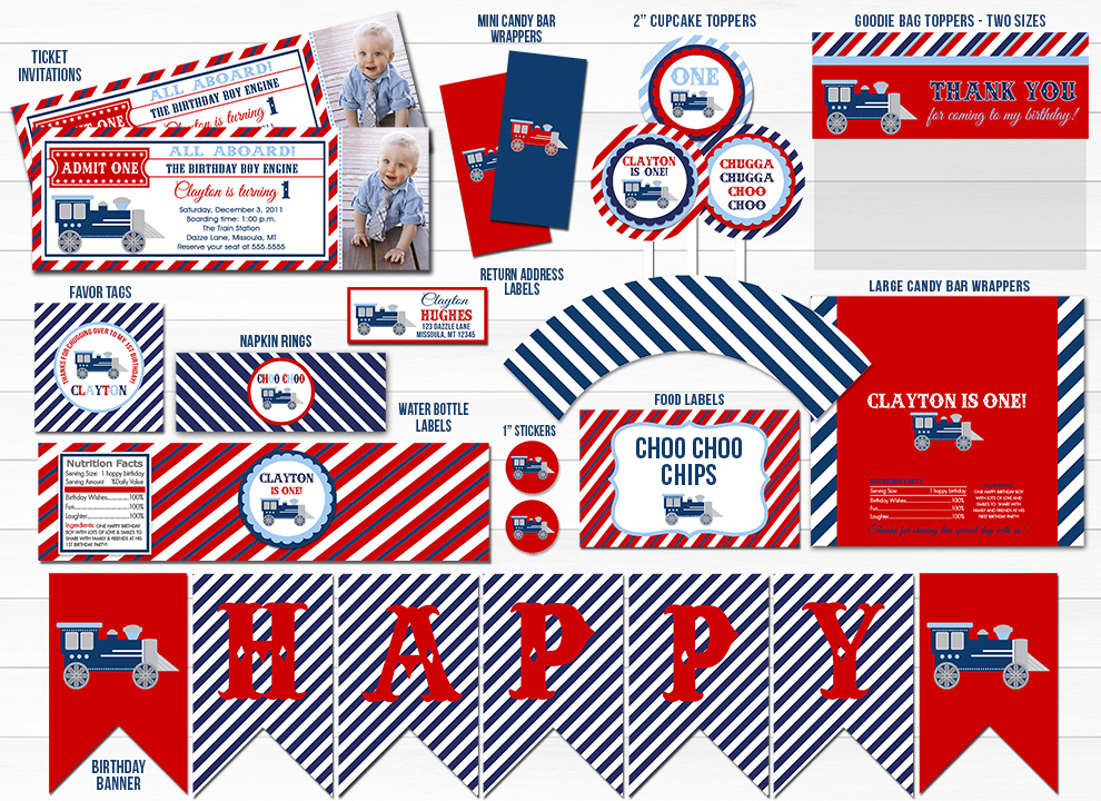 Train Ticket Complete Party Package - Printable