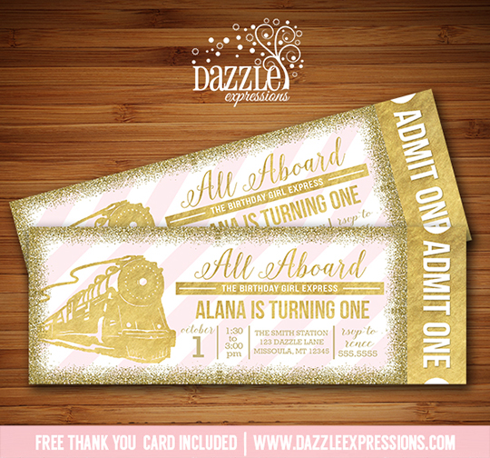 printable pink and gold glitter train ticket birthday invitation