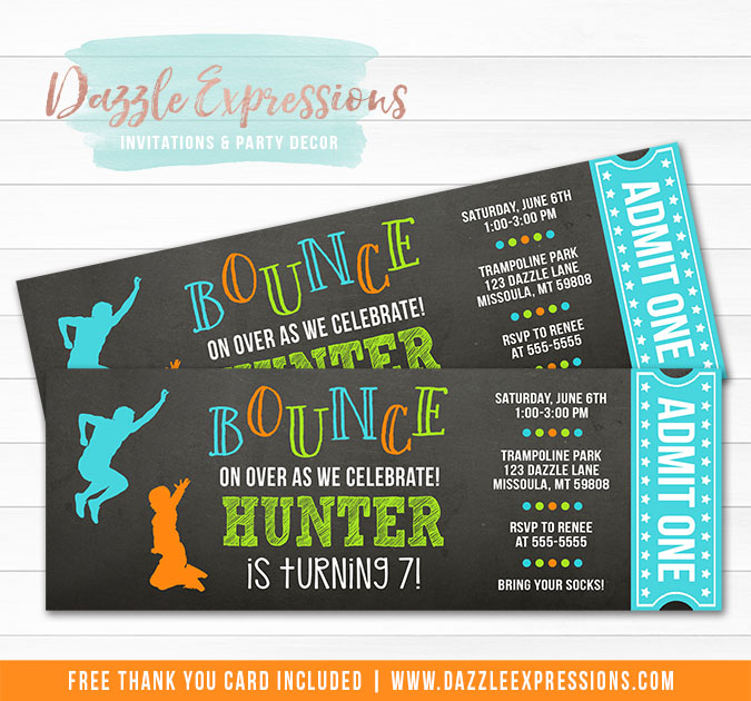 Trampoline Chalkboard Ticket Invitation 1 - FREE thank you card