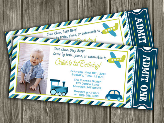 Transportation Ticket Invitation 2 - FREE thank you card included
