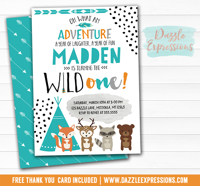Printable Wild One Tribal Woodland Birthday Party Invitation