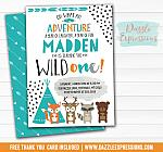 Wild One - Tribal Woodland Invitation 1 - FREE thank you card and back side