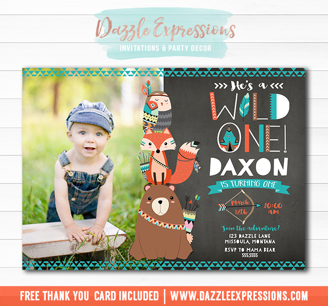 Printable Wild One Tribal Woodland Chalkboard Birthday Party