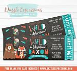 Tribal Woodland Chalkboard Ticket Invitation - FREE thank you card