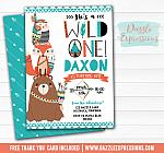 Wild One - Tribal Woodland Invitation 3 - FREE thank you card and back side