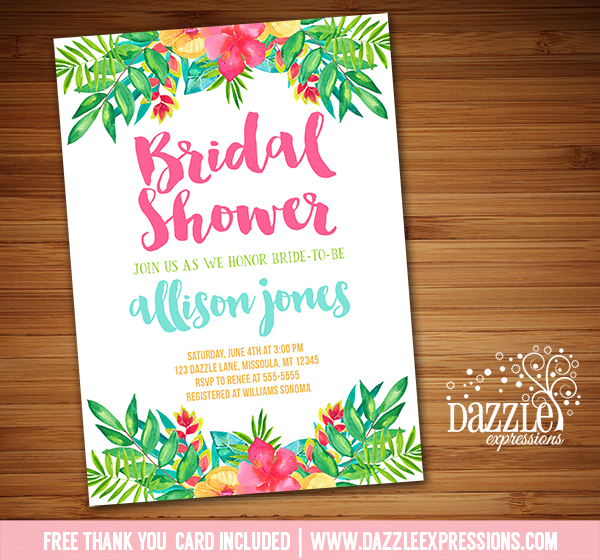 tropical flower bridal shower invitation free thank you card included