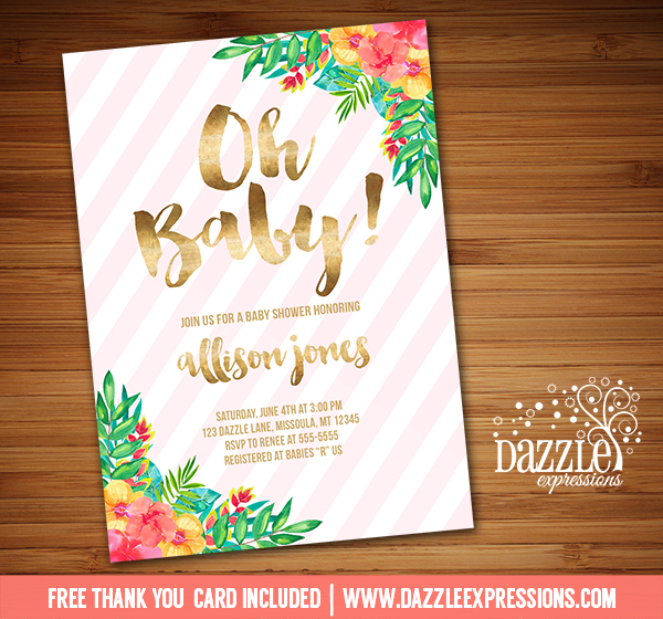 printable tropical flowers with gold foil baby shower invitation