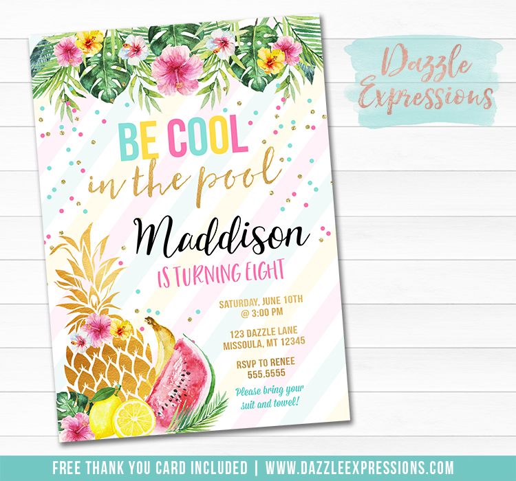 Tropical Fruit Invitation - FREE thank you card