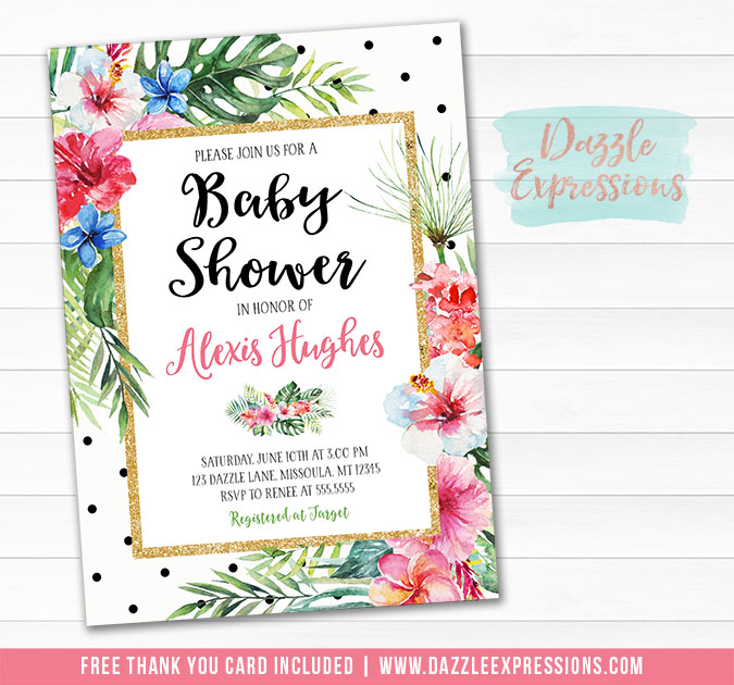 Tropical Luau Baby Shower Invitation 1 - FREE thank you card