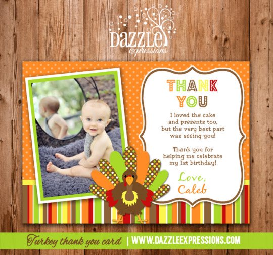 Turkey Photo Thank You Card - Printable