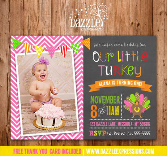 Turkey Chalkboard Birthday Invitation 1 - FREE thank you card included